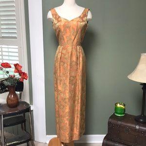 Vintage '60s Light Copper & Gold Brocade Gown